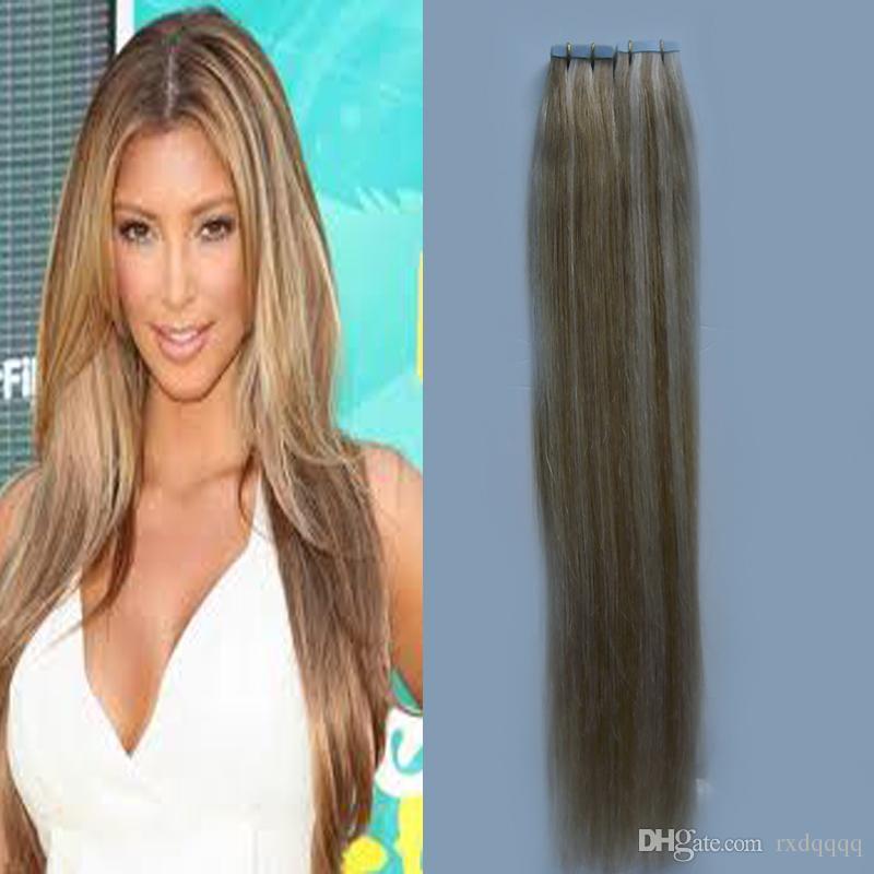 Çift çizilmiş Doğal Düz Cilt Atkı Remy Saç Uzantıları 40 adet P27 / 613 Piyano renk Cilt Atkı Bant Saç Uzantıları 100g