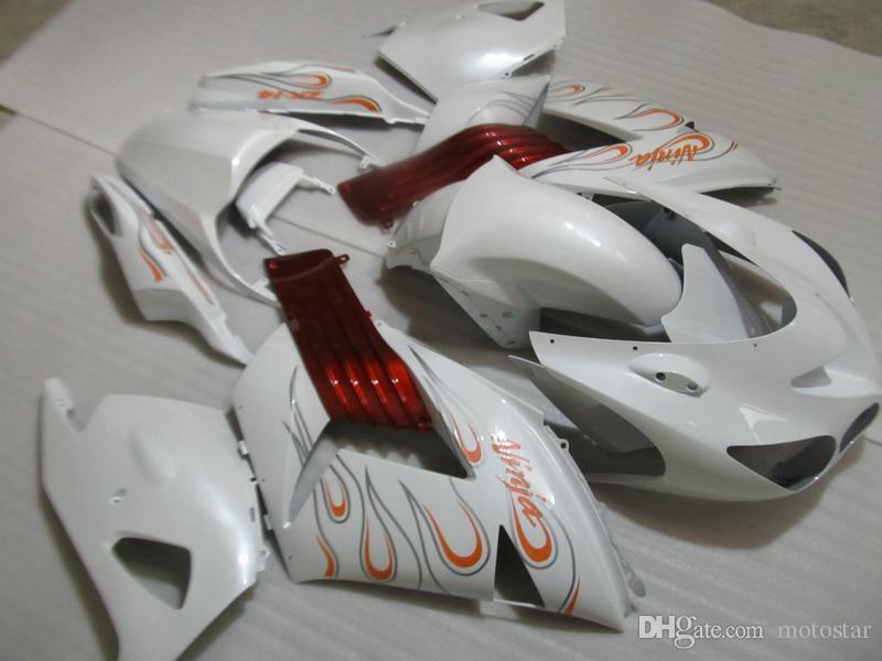 Injection molding hot sale fairing kit for Kawasaki Ninja ZX14R 06 07 08-11 white red fairings set ZX14R 2006-2011 OT09