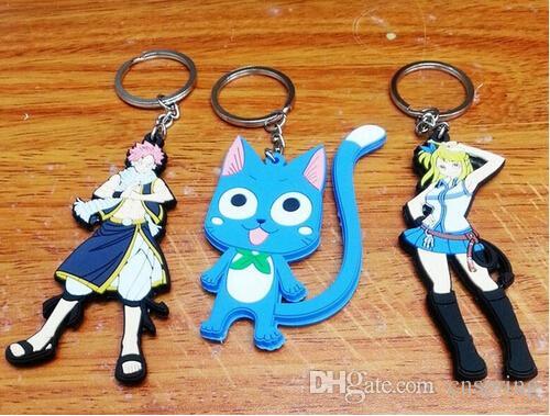 New 20 pcs Cartoon Japanese anime Fairy Tail PVC Keychain Bag Pendant  Children Gifts Y012