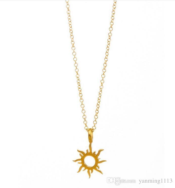 С карточкой милый Dogeared ожерелье с Солнцем кулон благородный и тонкий золотой короткое ожерелье подарок ювелирных изделий для нее