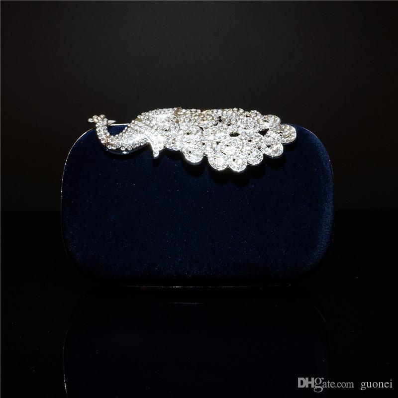 고품질 4 색 패션 크리스탈 다이아몬드 핸드백 이브닝 백 지갑 우아한 공작 클러치 뜨거운 판매 무료 배송