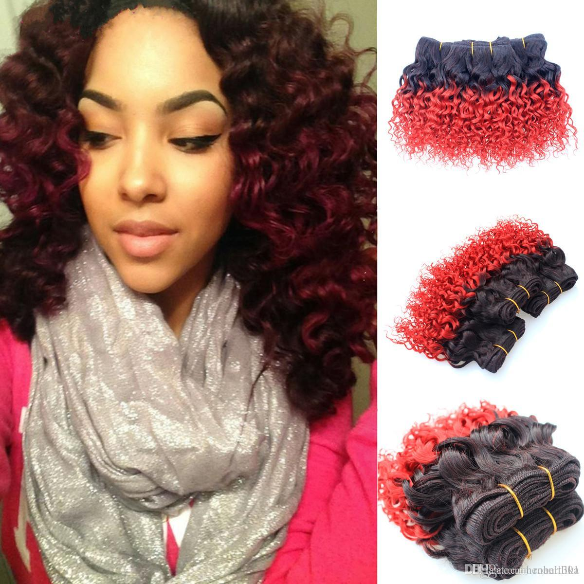 Cheap wholesale vip red brazilian curly ombre hair extensions see larger image urmus Images