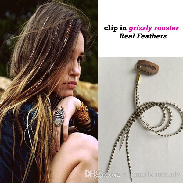 Fashion Women Clip In Feather Hair Extension Natural Real Grizzly