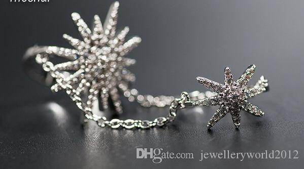 Europe fashion cz diamond zircon Double joint sunflower stars conjoined rings Eu size 6-9#