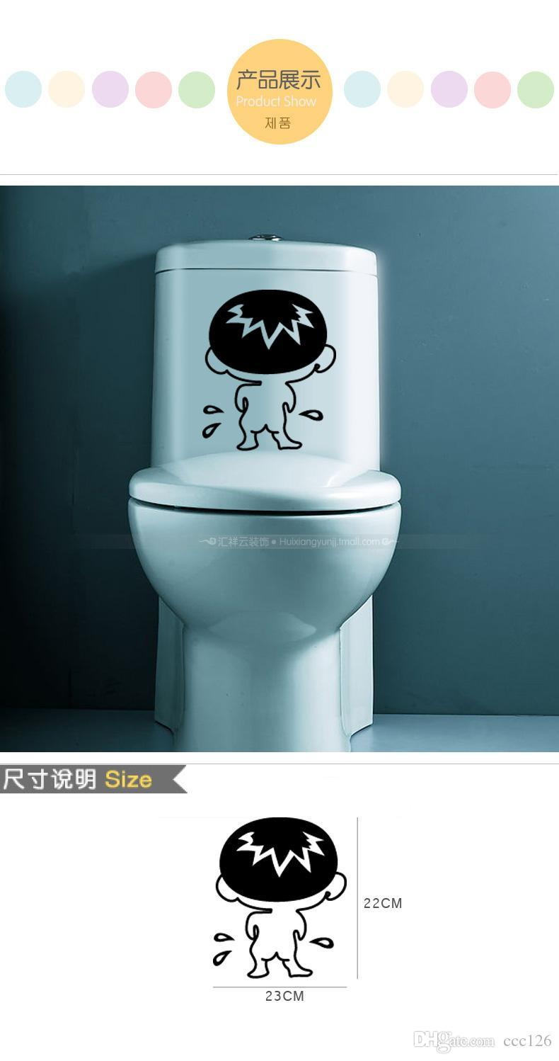 Funny kid dribbling bathroom toilet public icon keep clean Wall stickers decoration decor home decals fashion waterproof bedroom living sofa