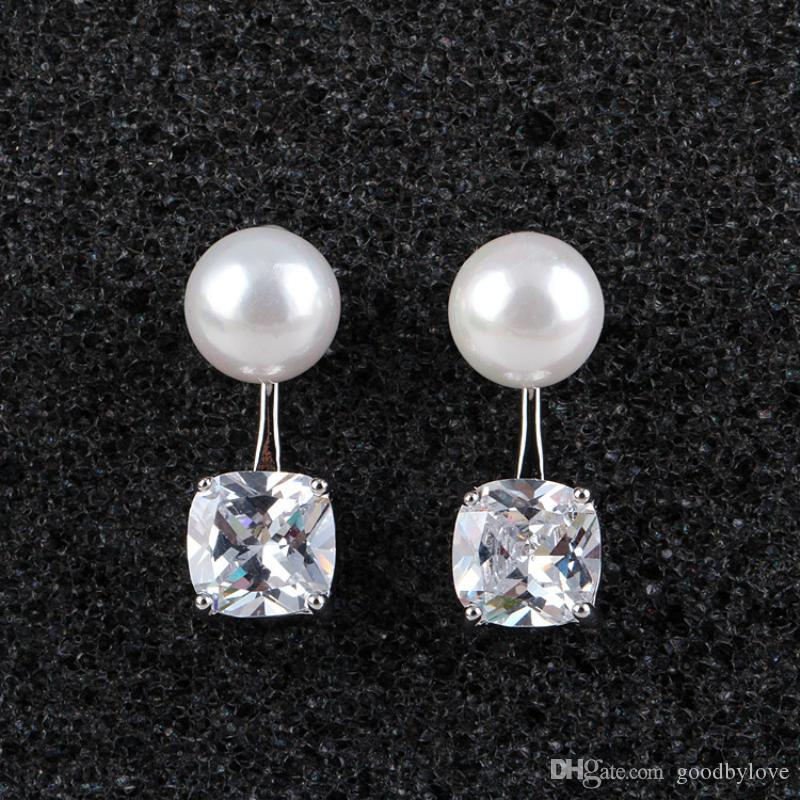 White Gold Color Ear Jacket Front and Back Big Pearl Square Zircon CZ Piercing Double Side Stud Earrings for Women Hot Gift