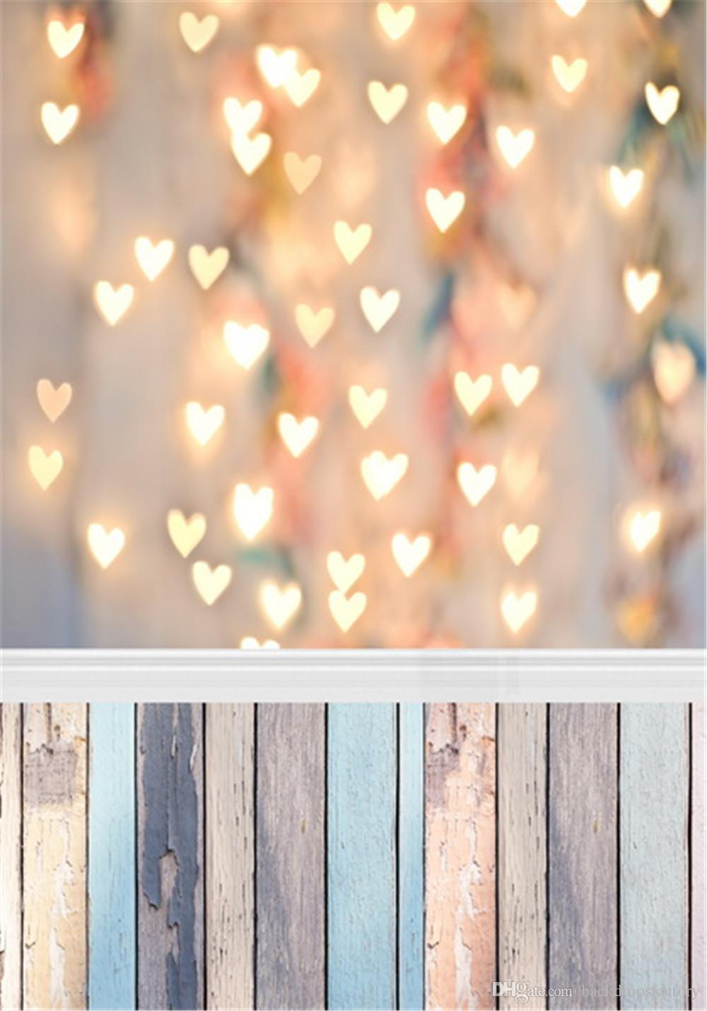 Glitter Love Heart Lights Photography Backdrop Vinyl Wood Planks Texture Floor Photo Background Bokeh Baby Newborn Booth Wallpaper Props