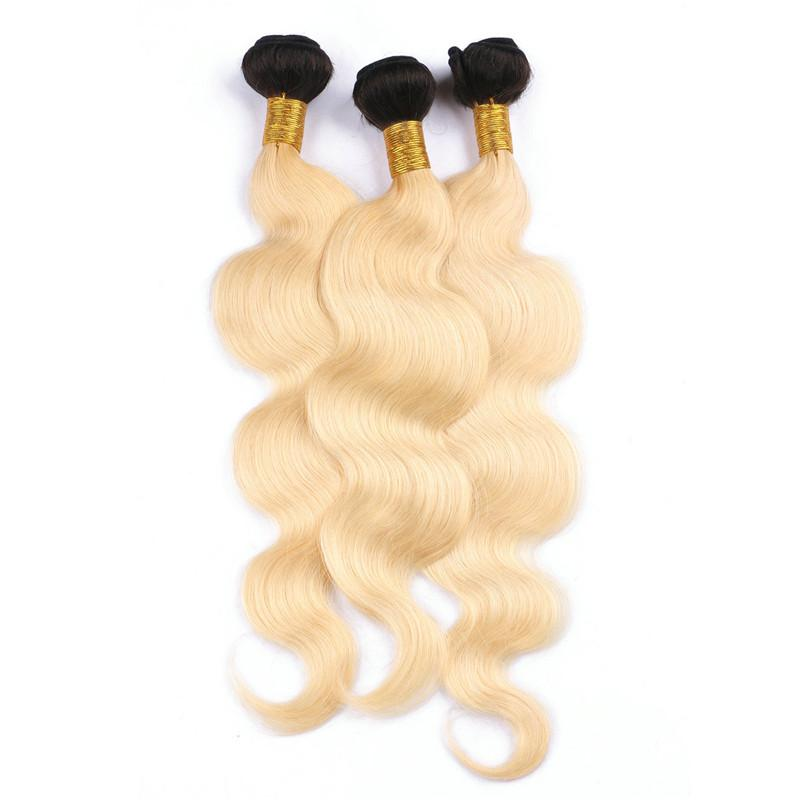 Two Tone 1B/613 Dark Root Blonde Ombre Brazilian Human Hair 3Bundles With Pre Plucked Full Frontal 360 Lace Band Closure Body Wave
