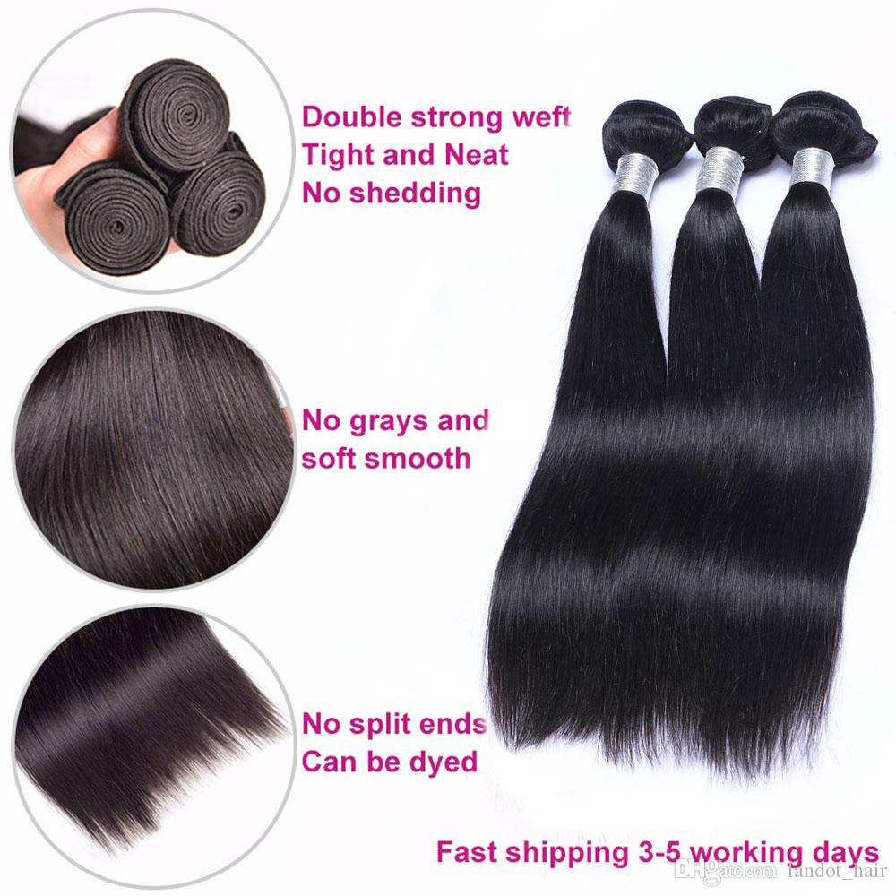 Brazilian Virgin Human Hair Weave Bundles Unprocessed 7A Cheap Peruvian Malaysian Indian Cambodian Straight Remy Hair Extensions 3/4/