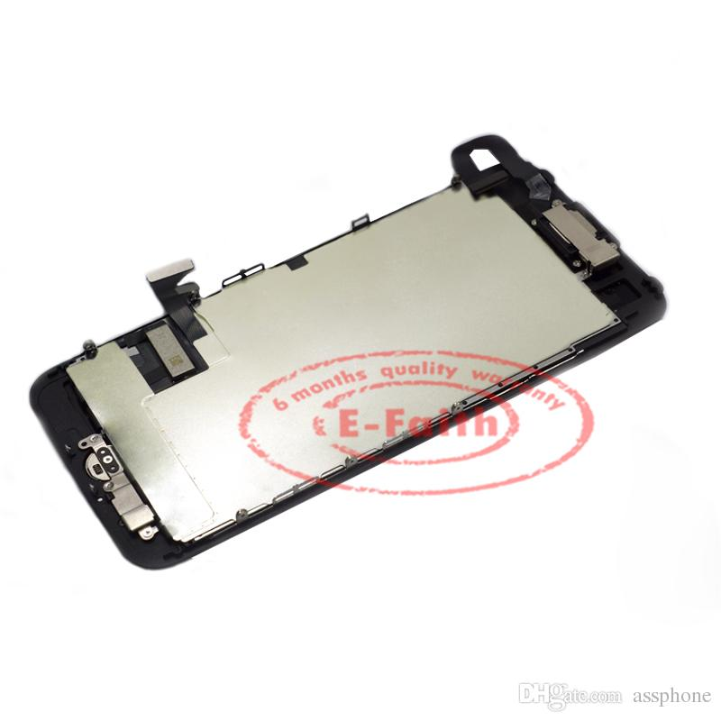 White Glass Touch Screen Digitizer LCD Assembly Replacement For iPhone 5 5G with Home Button + Camera &