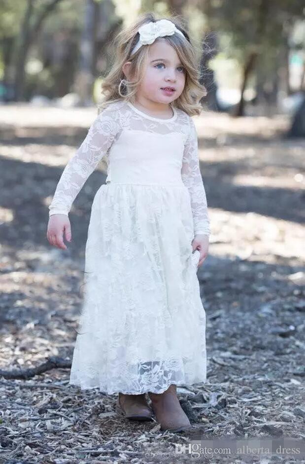 Nuovo paese carino poco costoso pieno fiore ragazze pizzo abiti maniche lunghe Ritzee ragazza pageant abiti da festa ragazzi bambini abiti da comunione formale