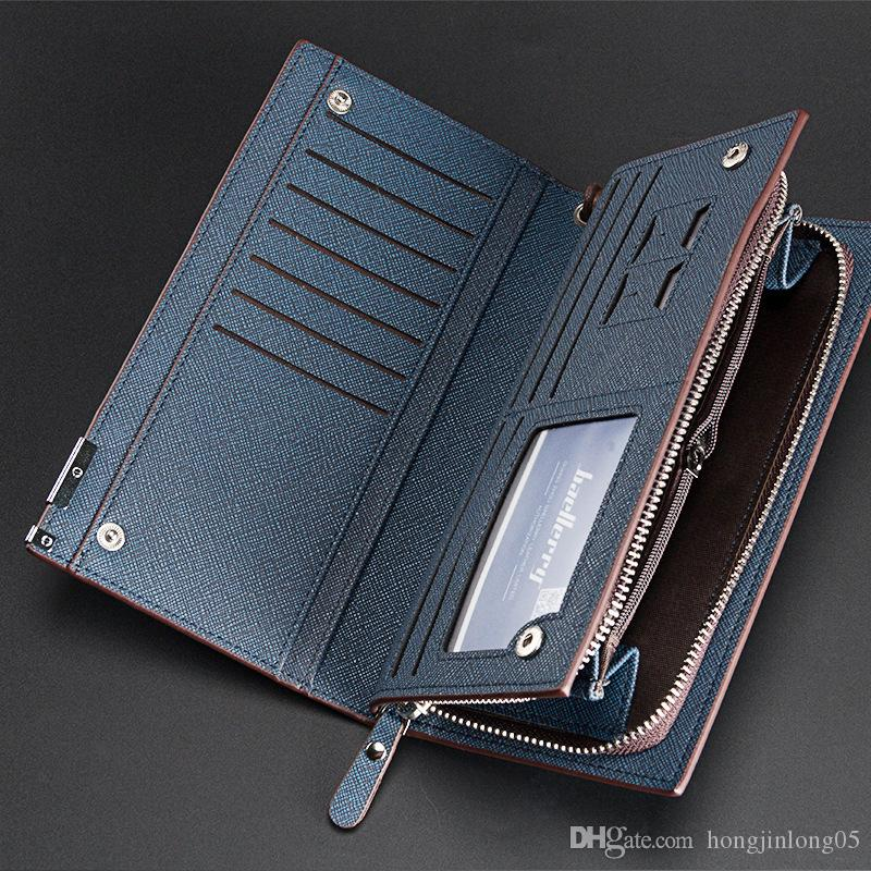 New Men Long Wallets Zipper Cross Coarse Texture Quality Middle Hard Pu Leather Casual High Capacity ID Card Holder Purse Wallet