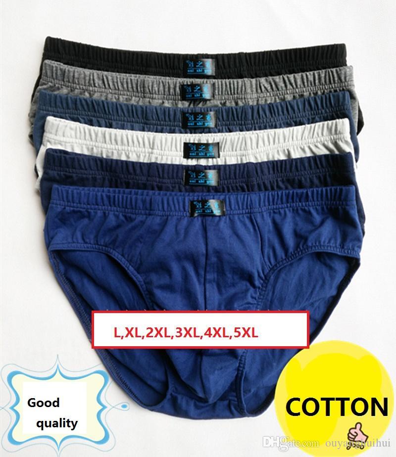 L, XL, 2XL, 3XL, 4XL, 5XL Solid Briefs Ropa interior de algodón para hombres bragas masculinas ropa interior cómoda y transpirable 4 unids / lote multicolor