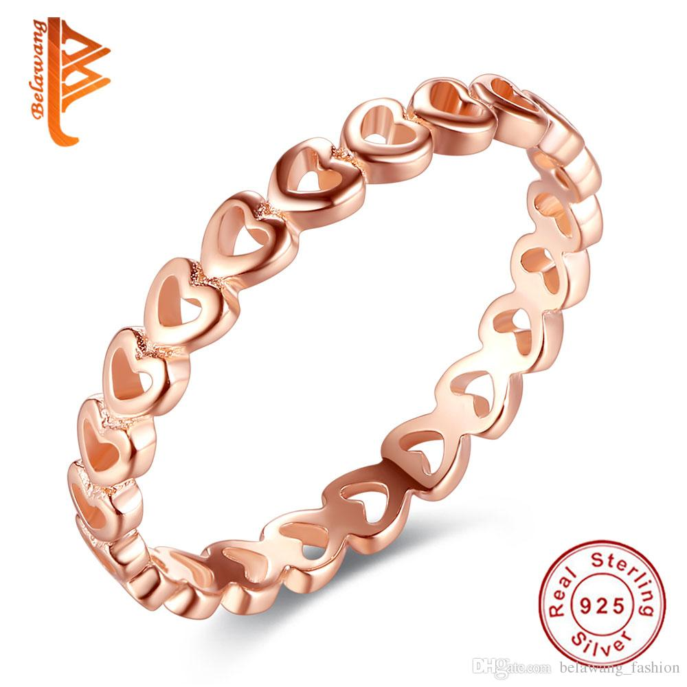 BELAWANG Rose Gold Linked Love Stackable Heart Rings Real 925