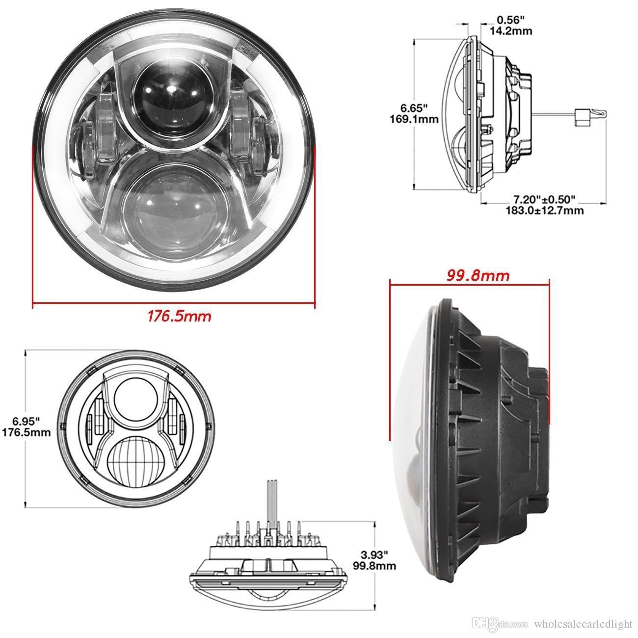 "7"" Inch Round LED Halo Headlights Bulb Lamp For Jeep Wrangler JK TJ LJ Hummer H1 H2 LED Headlamp Projector DRL Harley"