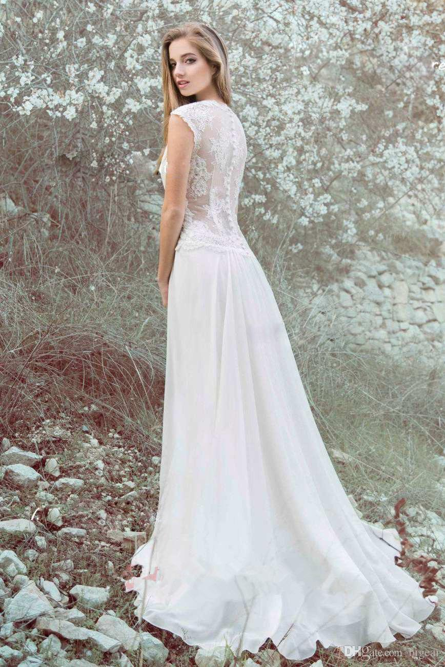 Großhandel Bodenlangen V Ausschnitt Brautkleid Mit Plissee Brust ...