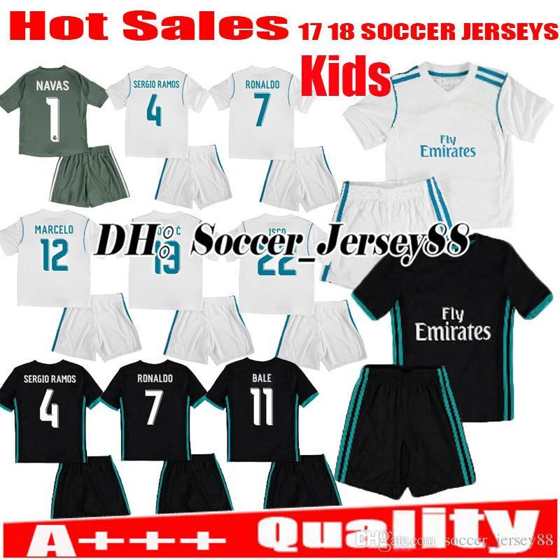 fdb3d4fa9 ... real madrid 1 navas white home youth kids child short sleeves 2016 2017  club soccer jerseys