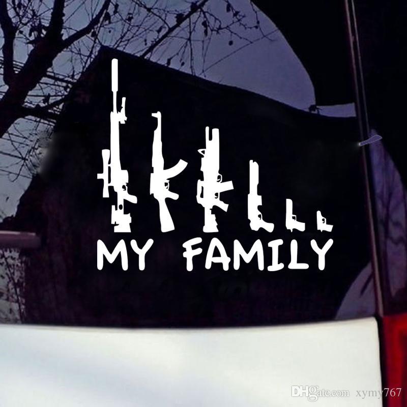 Heißer Verkauf Auto Stying Coole Grafiken Meine Gun Familie Autoaufkleber Fenster Lustige Aufkleber Autozubehör Vinyl Jdm