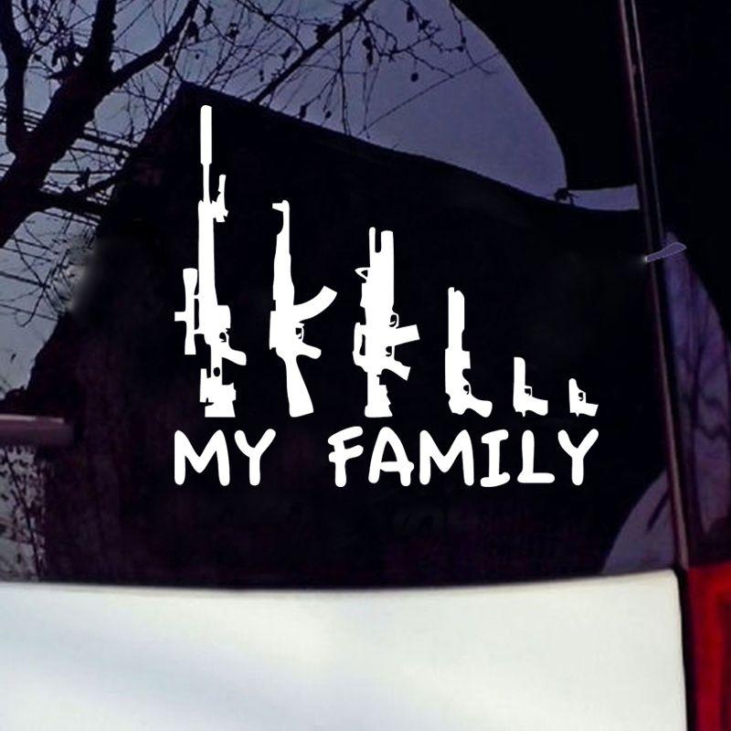 Venda quente Carro Stying Fresco Gráficos Minha Família Arma Janela do Adesivo Decalque Engraçado Acessórios Do Carro de Vinil Jdm