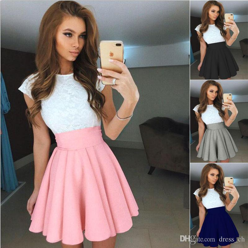 eb5800c6871c 2019 Women A Line Girl Mini Short Tennis Ball Gown Lady High Waist Flared Pleated  Skirt Lady Swing Vintage Skater Skirts From Dress_ch, $8.08   DHgate.Com