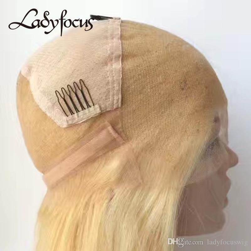 613 금발 전체 레이스 인간의 머리 가발 가벼운 금발 자연의 파도 레이스 앞머리 가발로 머리 가발 브라질의 황금 가발은 흑인 여성을위한