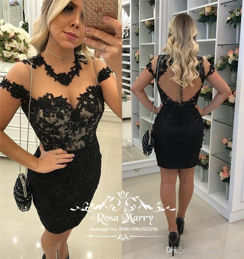 Sexy Little Black Short Cocktail Party Dresses 2017 Plus Size