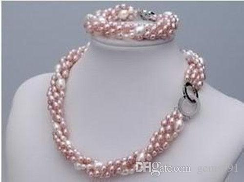 6204a9588 2019 New Fashion Real Pink Freshwater Pearl Necklace Bracelet Set From  Gems991, $38.19 | DHgate.Com