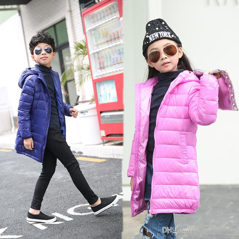 Long winter jackets girls down hoodie clothing blue pink color kids boys winter jacket clothes Lengthened warm coat for children winter tops