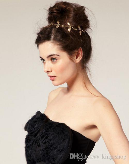 NOUVEAU mode chaude style bande de cheveux dame or olive feuille bandeau tête pièce chaîne laisse bande élastique d'or bande de tête