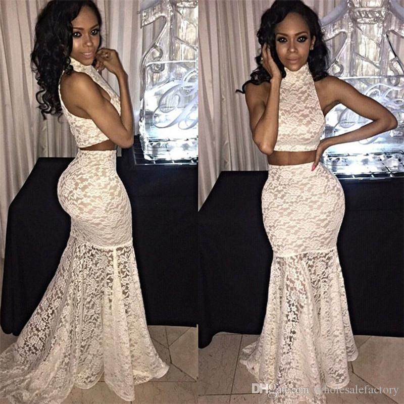 Lace two piece prom dresses