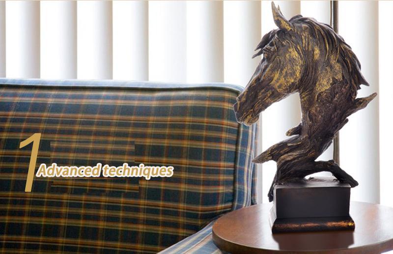 Смола материал - голова лошади бюст большой имитация античная Бронзовая цвет скульптура для домашнего офиса бар Украшения Украшения - 41 см / 16