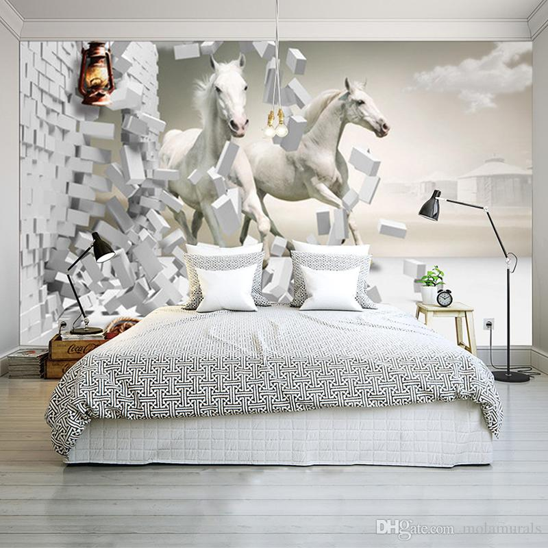 3D wallpapers for Wedding Room Horse 3D creative space TV backdrop wall custom photo for Waterproof Non Woven wall mural