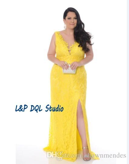 Yellow party dresses plus size