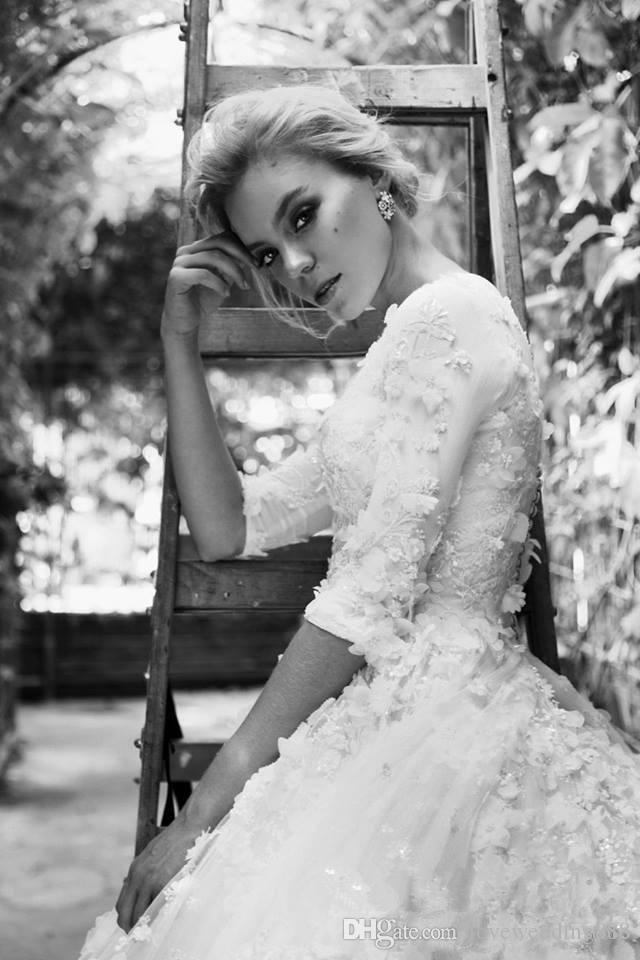 Великолепное бальное платье свадебные платья 2017 Полностью ручной работы цветы аппликации иллюзия половина рукава свадебные платья со съемным поездом