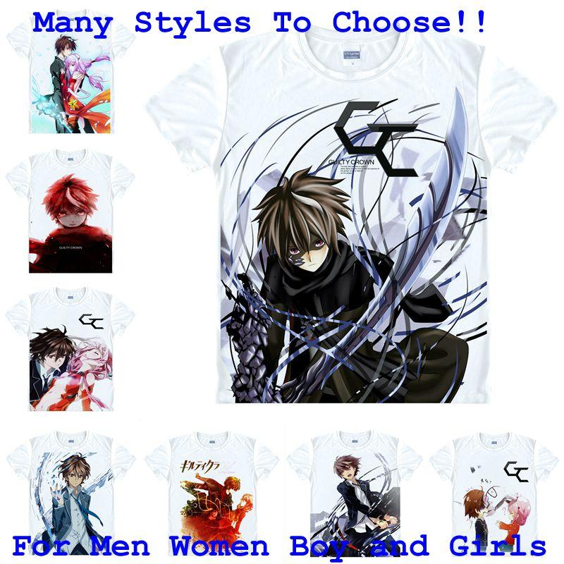 6348cb6e6 Compre Camisa De Anime Guilty Crown Camisetas Para Hombre