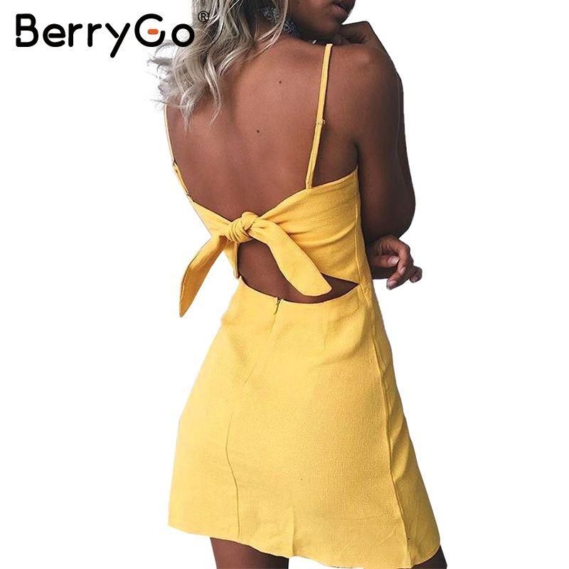 Berrygo Bow Casual Linen Sexy Dress Backless 2017 Beach Summer Dress ...