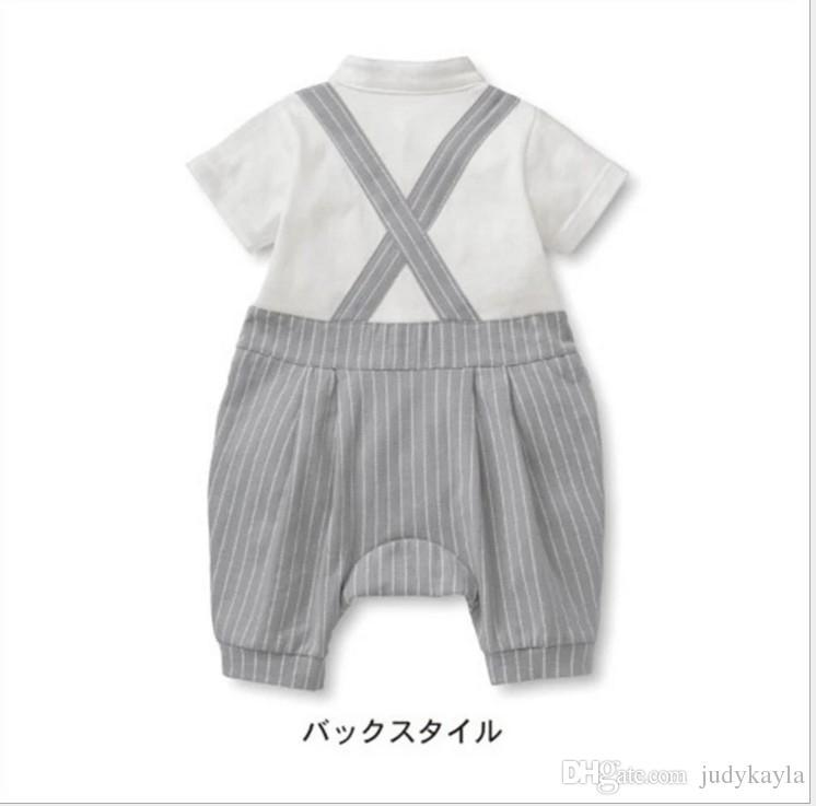 2017 gentleman stil baby jungen strampler sets sommer infant boy gestreiften kurzarm strampler + weste + bowtie 3 stücke set kinder overalls kleinkind anzüge
