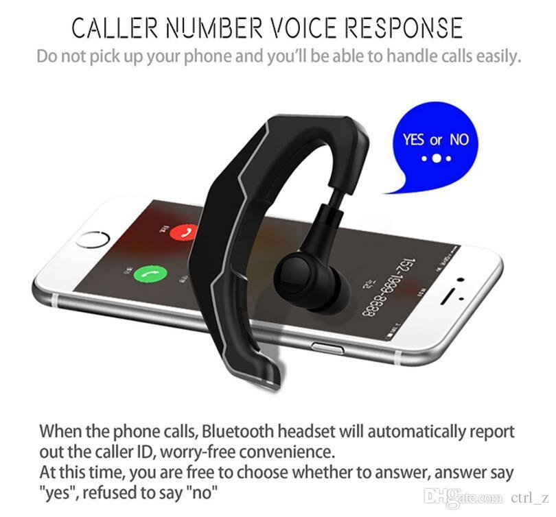 2017 Q3 New Bluetooth Headset Ear Hook Wireless Earphone CSR4.1 HD MIC Handsfree Phone Headphone Universal for iPhone 8 samsung