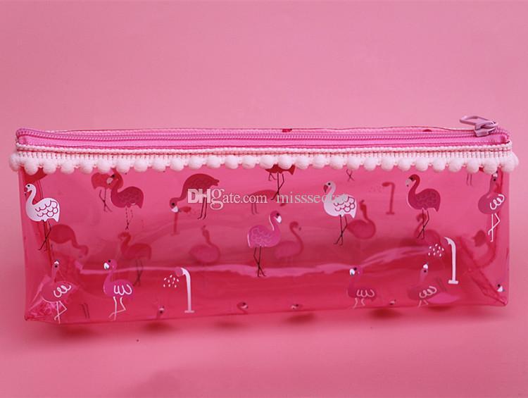 nette Flamingo transparente Kosmetiktasche Student Pom Pom klar Taschen Mädchen kleine Reißverschluss rosa Kosmetiktasche Reise Make-up Veranstalter Taschen
