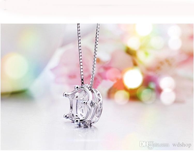 الجملة 925 الفضة الأميرة تاج قلادة قلادة جودة عالية السويسري كريستال المرأة كريستال مجوهرات مربع سلسلة قلادة تاج