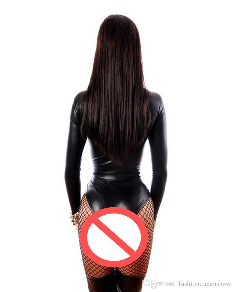 Kadınlar Seksi Faux Deri Lingerie İç Uzun Kollu Teddy Lace Up Gotik Punk Yüksek Kesim Leotard Catsuit Erotik Clubwear Kostüm