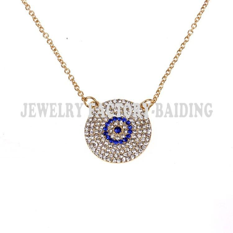 wholesale wholesale fashion colar turco crystal plated evil eye necklace turkish necklace blue evil eye popular chain necklace mens necklace handmade