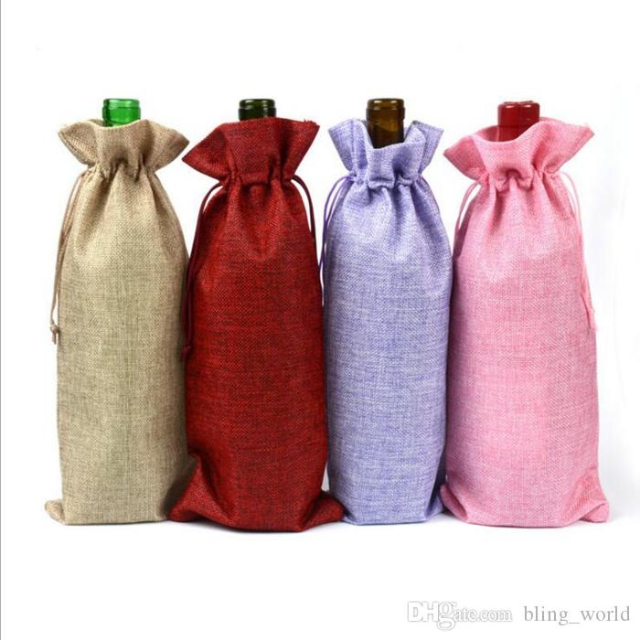 Linen Drawstring Wine Bags Dustproof Wine Bottle Packaging Champagne Pouches Christmas Gift Bags Party Gift Wrap YW226