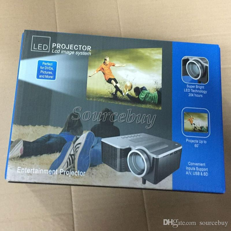 UC28+ Projector Mini LED Portable Home Theater Video Projector PC & Laptop VGA USB SD AV Game Digital Pocket Proyecter with Retail Package