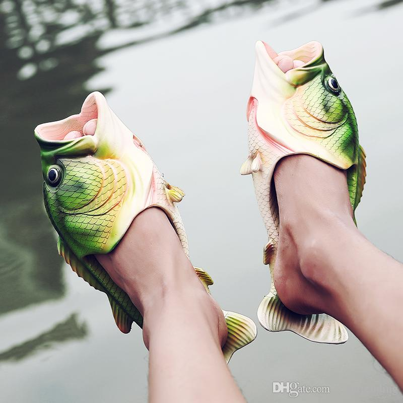 0bac7756b45 Fish Slippers Handmade Summer Fish Sandals Fish Beach Slippers Unisex  Creative Shoes Kids Couple Open Toe Flat Novelty Adult Shoes New J576  Walking Boots ...