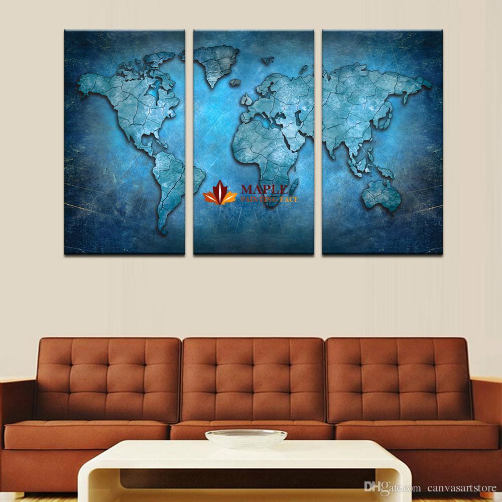 3 pezzi senza cornice grande arte della tela blu mappa hd wall art immagine tela stampa pittura soggiorno decorazione immagine della casa