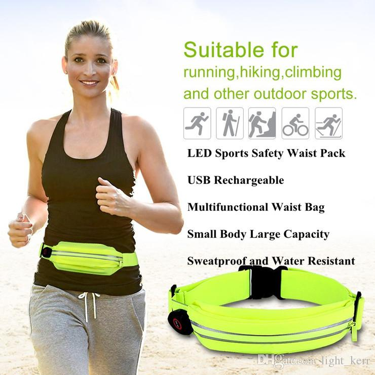 Sport Waist Pack LED Running Belt LED Running Belt Waist Pack for Safety USB Rechargeable Sweat and Water Resistant Reflective Waist Fanny