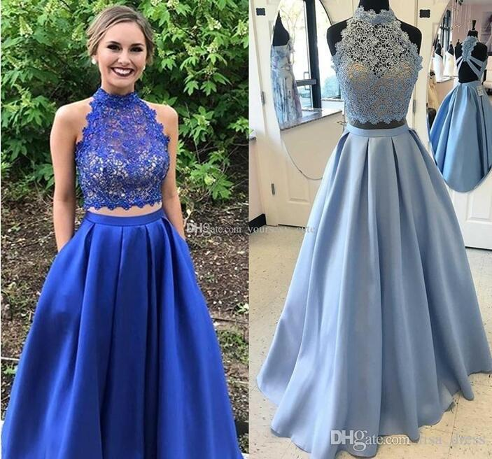 3f186e21d0d Royal Blue Two Piece Prom Dresses High Neck Sleeveless Lace Satin Light Sky  Blue Homecoming Dresses Backless Red Graduation Party Dresses Open Back Prom  ...