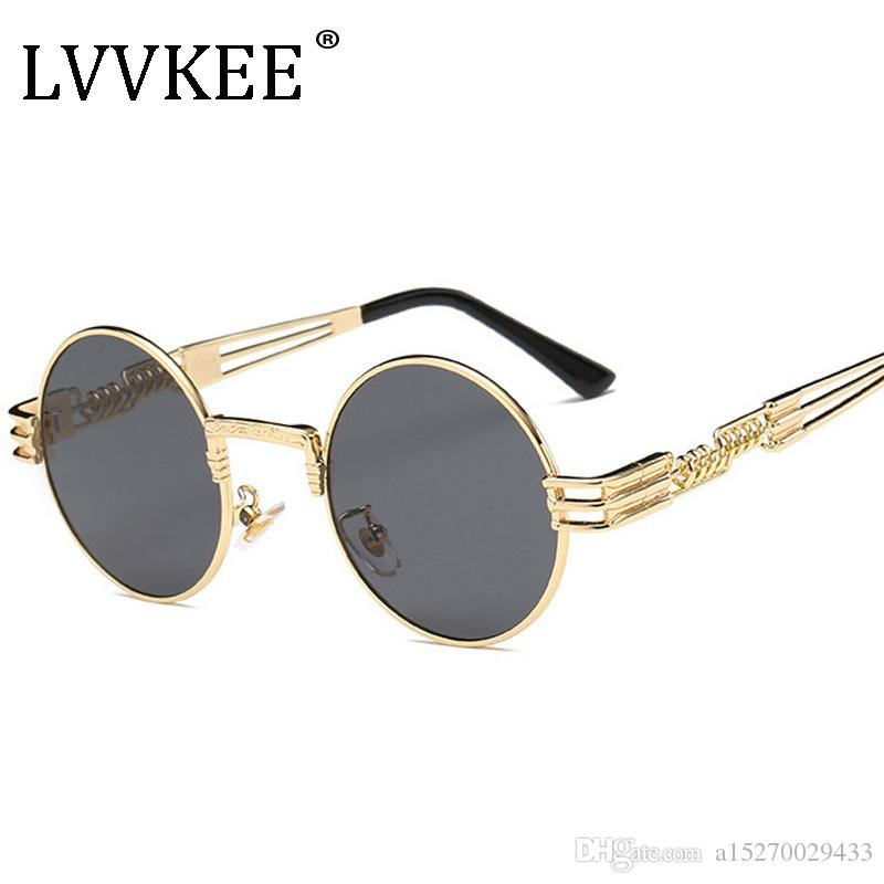 294a98c6841 Gothic Steampunk Sunglasses Men Women Metal Wrap Eyeglasses Round ...