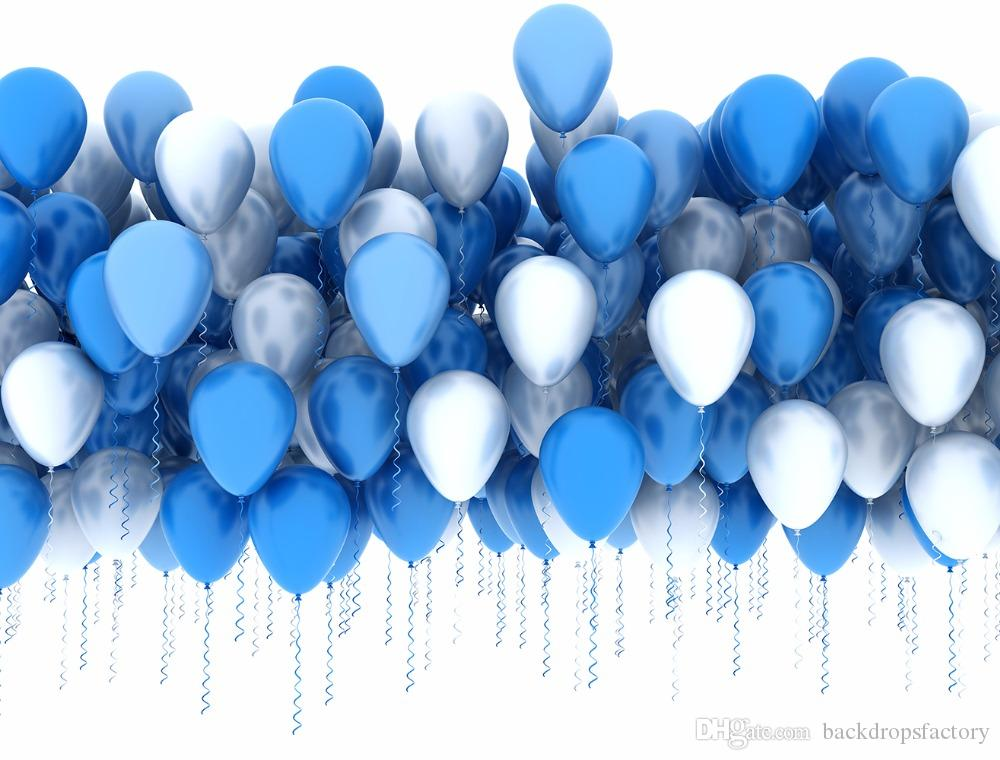 7x5ft Blue Silver Balloons Backdrop Children Kids Birthday